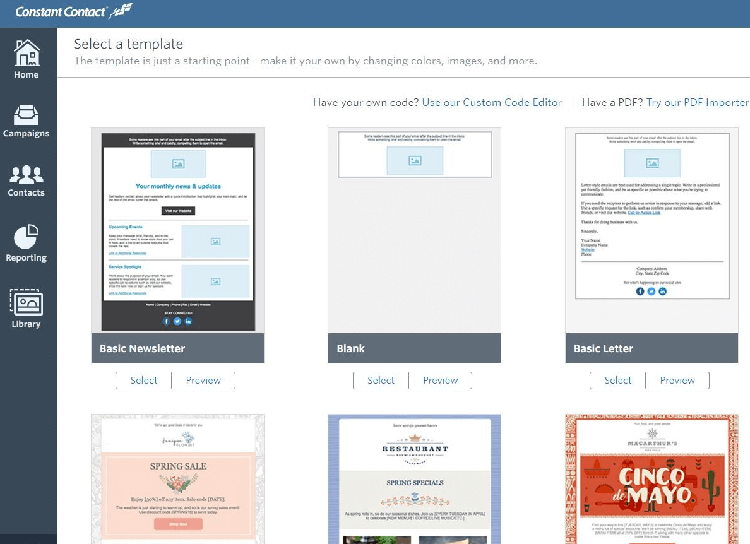 Constant contact email templates
